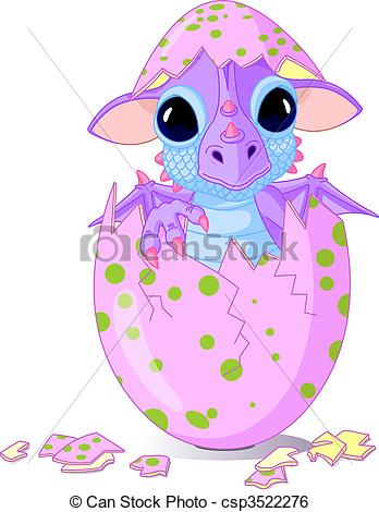 Clip Art Vector of Baby dragon hatched from one egg.
