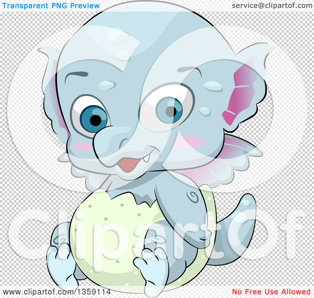 Clipart of a Cute Blue Baby Dragon Hatching from an Egg.