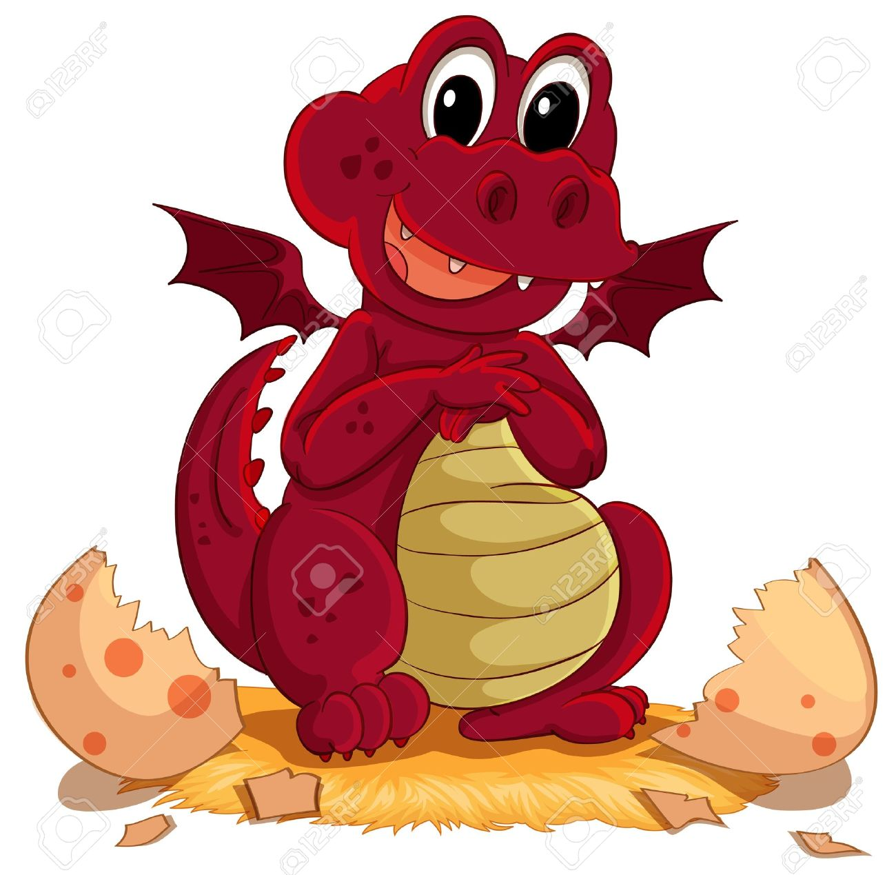 Illustration Of A Dragon Hatching Royalty Free Cliparts, Vectors.