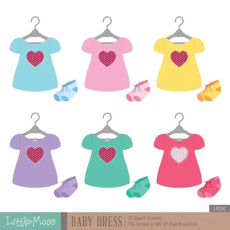 Baby Dress Digital Clipart.