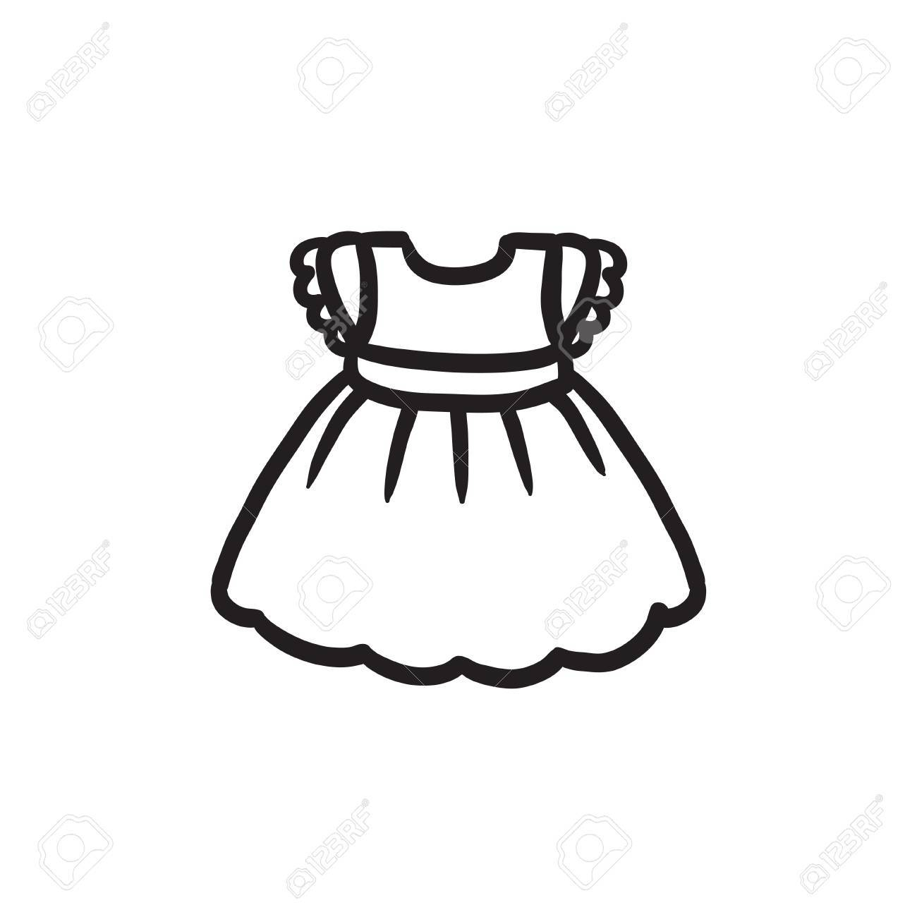 Baby dress vector sketch icon isolated on background. Hand drawn...