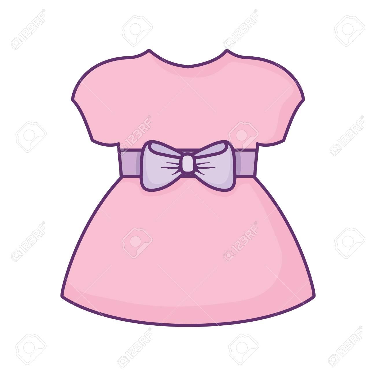baby girl dress icon over white background, vector illustration.