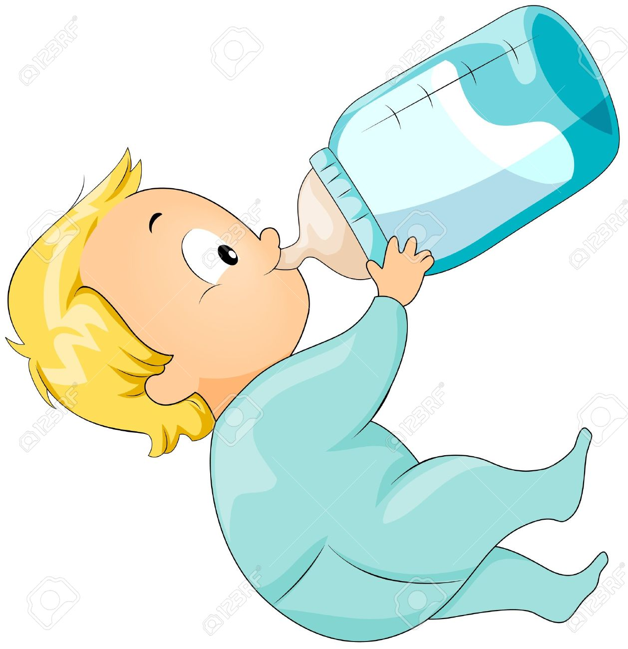 Baby Drinking Milk From Bottle Clipart.