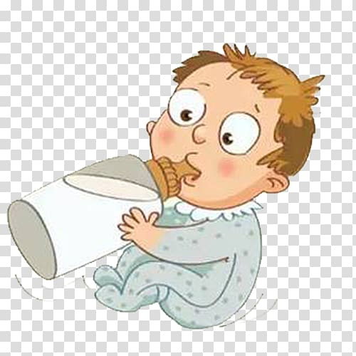 Milk Cartoon Child Drinking, Cute cartoon baby eating bottle.