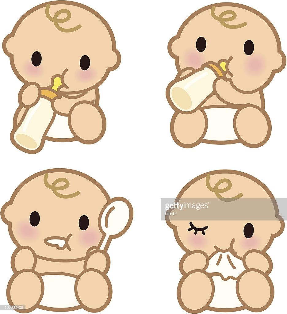 Vector Art : Cute Babies eating ( Baby drinking from milk.