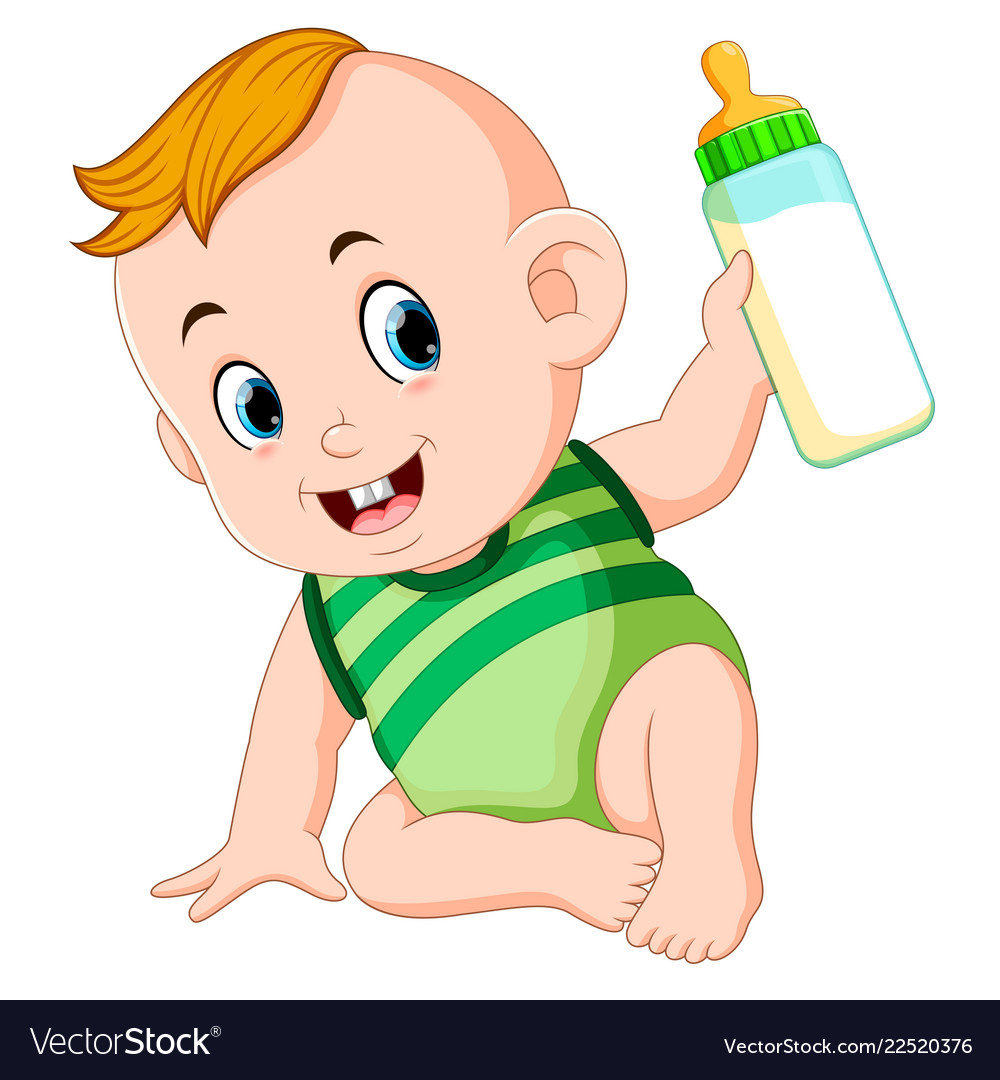 Cute baby playing and hold the milk bottle.