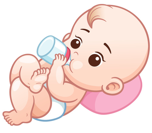 Baby drinking milk with vector illustration vector free download.