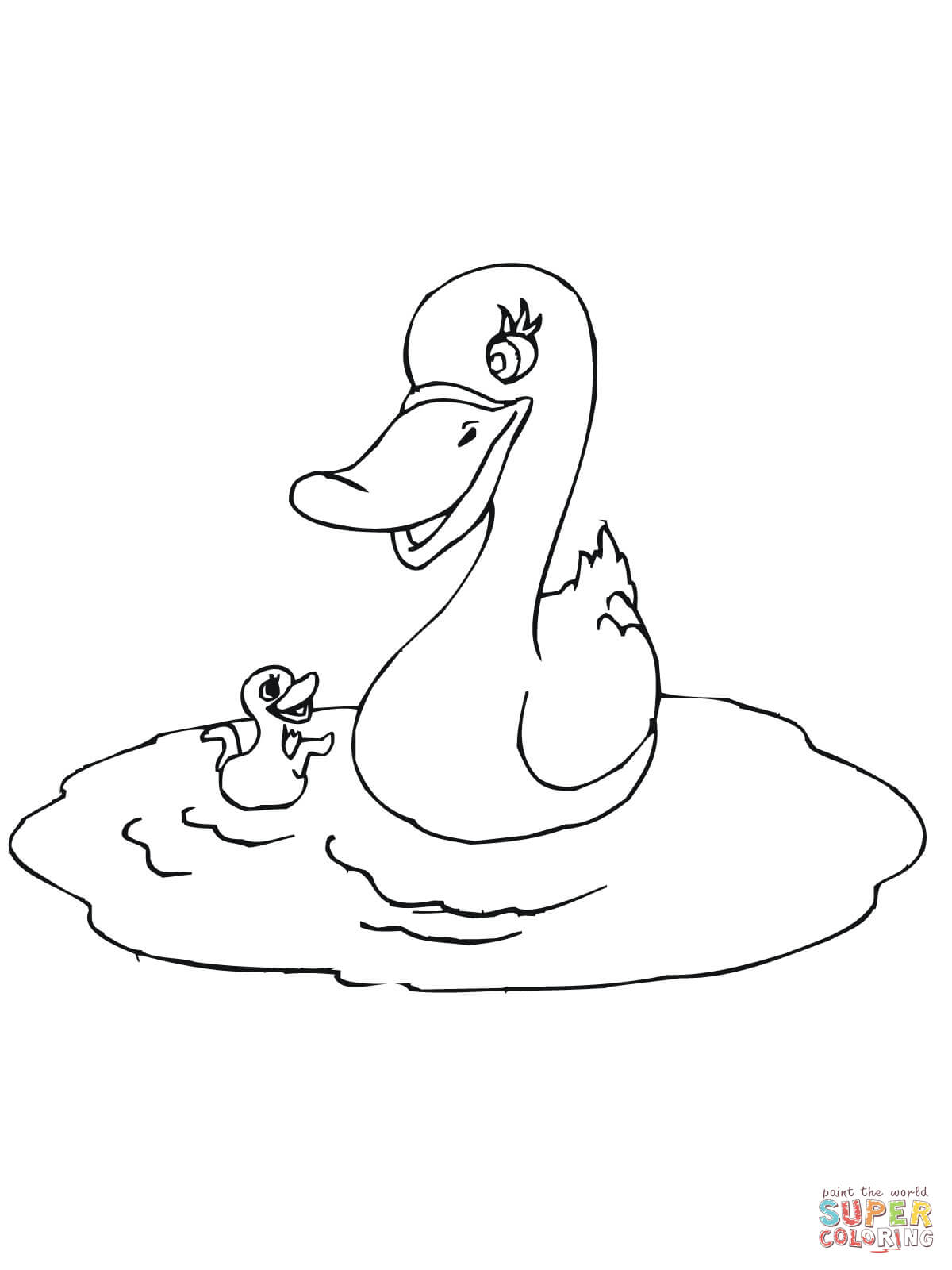Mother Duck with Baby coloring page.