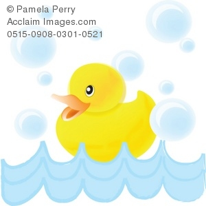Clip Art Illustration of a Baby Duck Swimming With Bubbles.