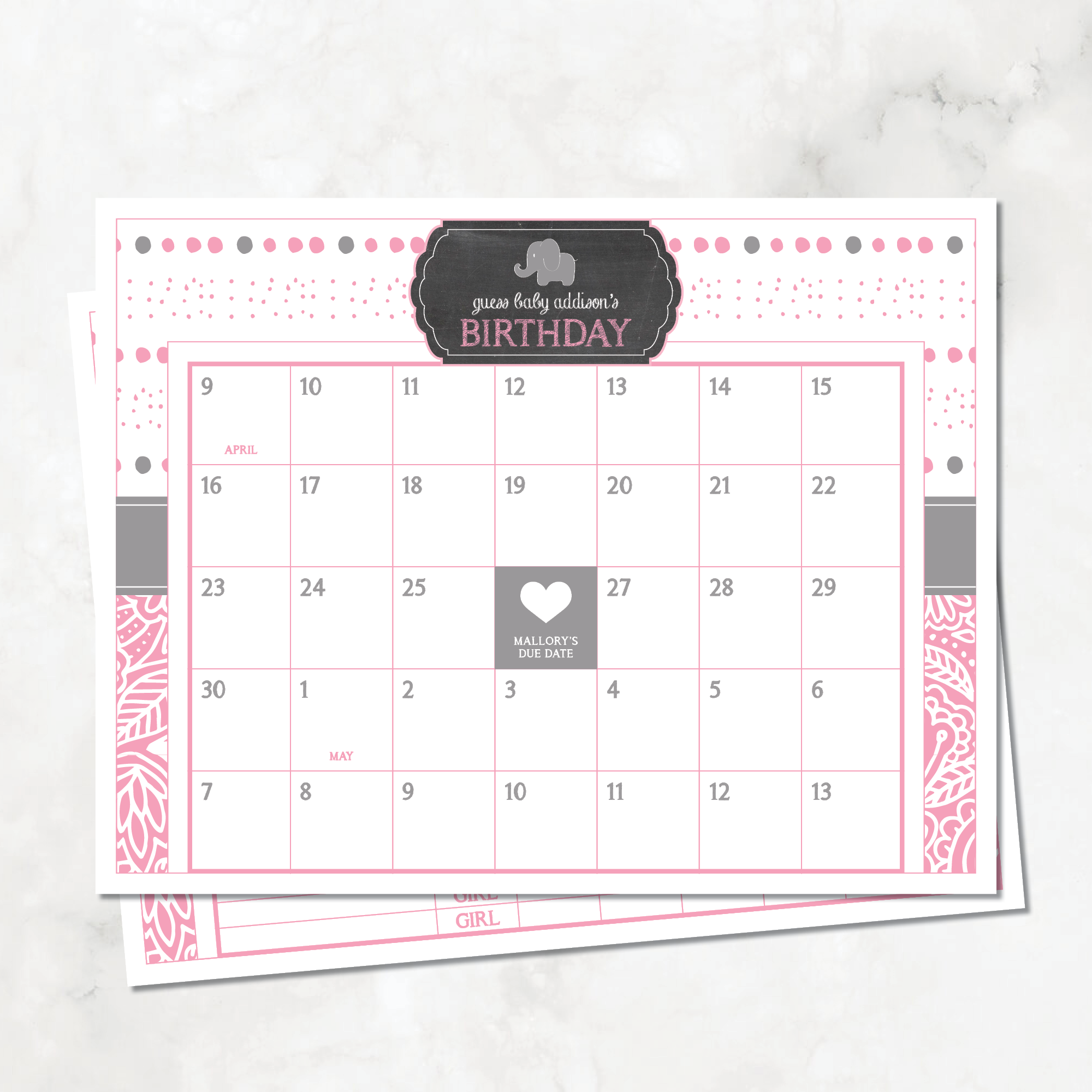 Elephant (Bubbles) Baby Shower Due Date Calendar, Pink — DIY.
