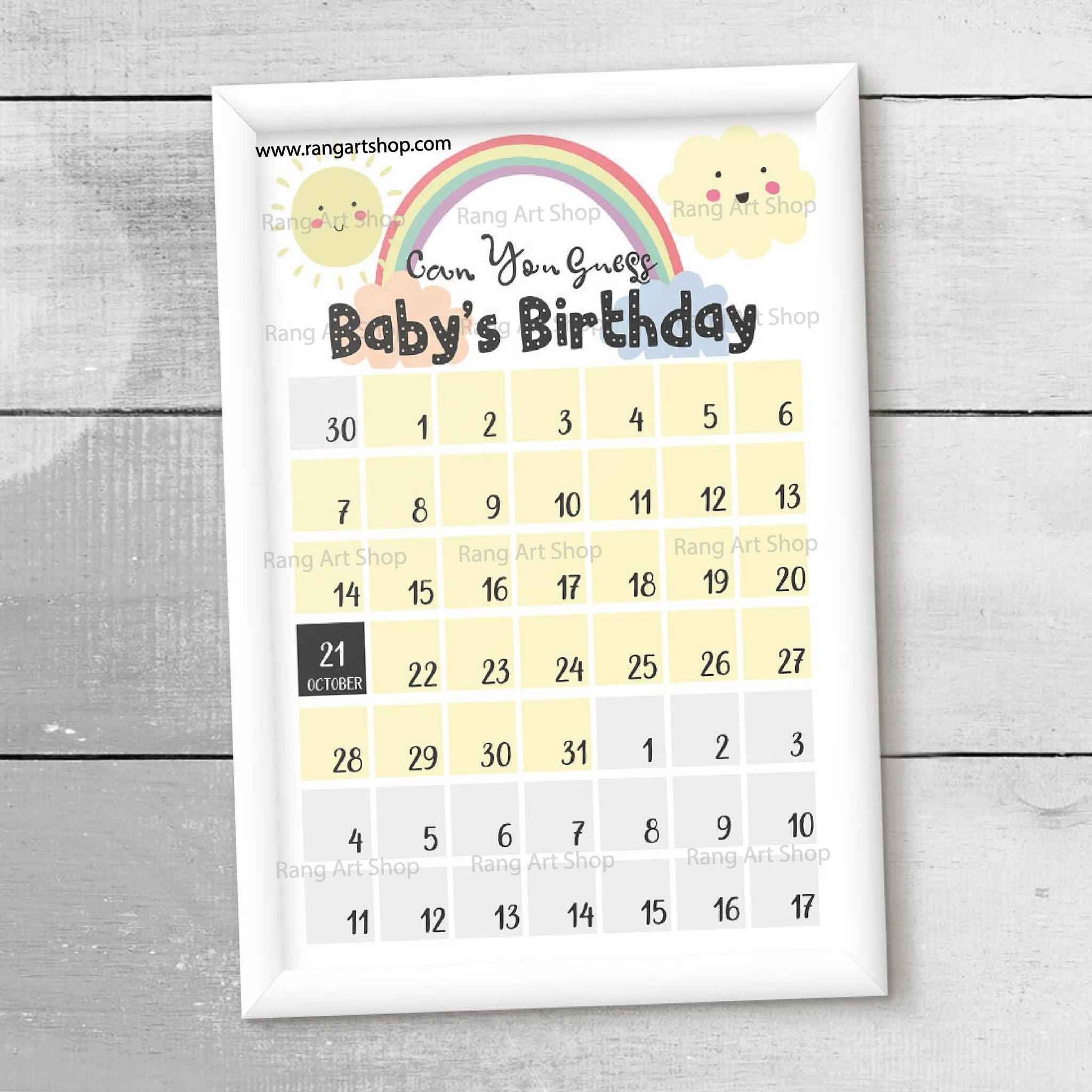 Baby Shower Due Date Calendar.