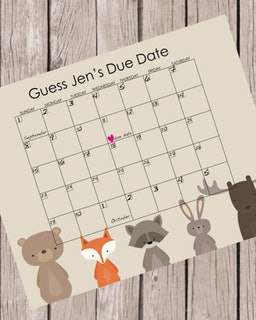Woodland Animals Printable Guess Baby\'s Due Date Baby Shower Game.