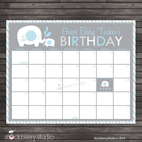 Elephant Baby Shower Guess the Due Date Calendar Printable.