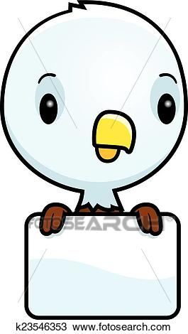 Cartoon Baby Bald Eagle Sign Clipart.