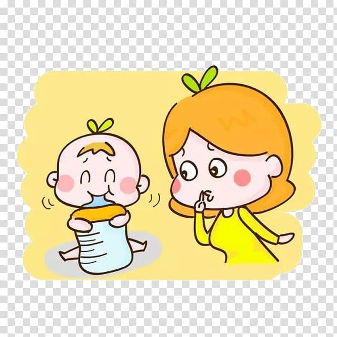 Milk Infant Eating Bottle, Cartoon baby eating bottle.