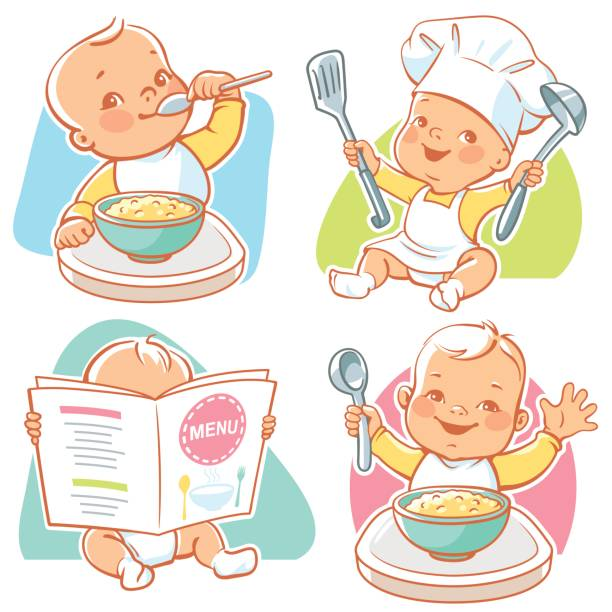 Best Baby Eating Illustrations, Royalty.