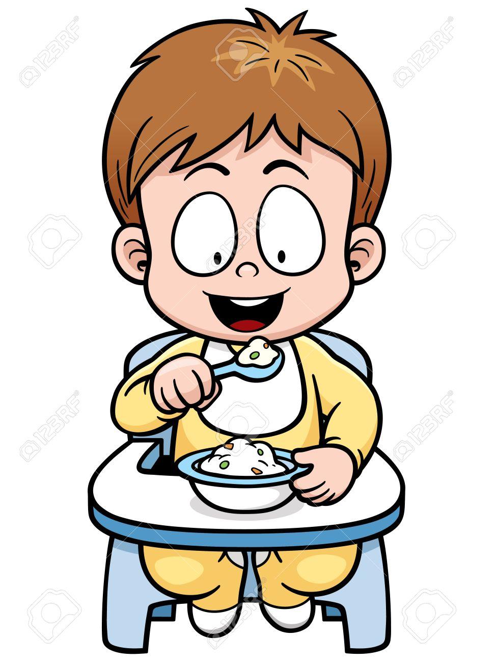 Vector illustration of cartoon baby eating.