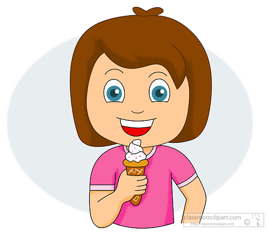 Child Eating Ice Cream Clipart.