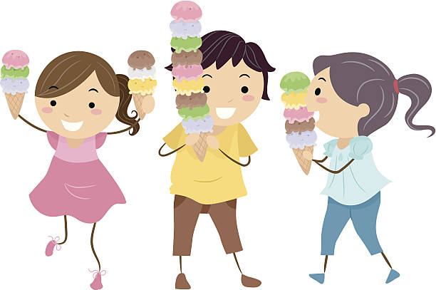 Children Eating Ice Cream Clipart.