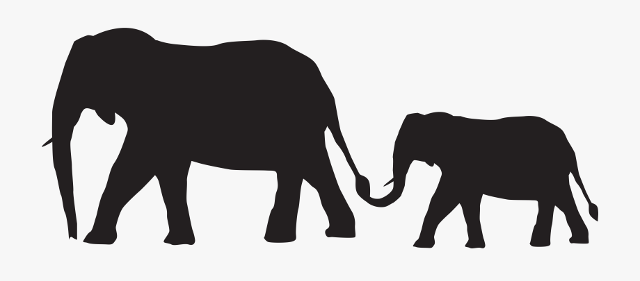Mom And Baby Elephant Silhouette Clipart , Png Download.