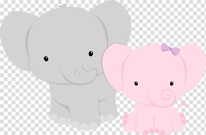 Two gray and pink elephants , Elephant Baby shower Animal.