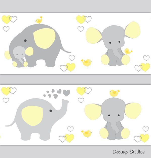 Details about Yellow Gray Elephant Neutral Nursery Wallpaper.