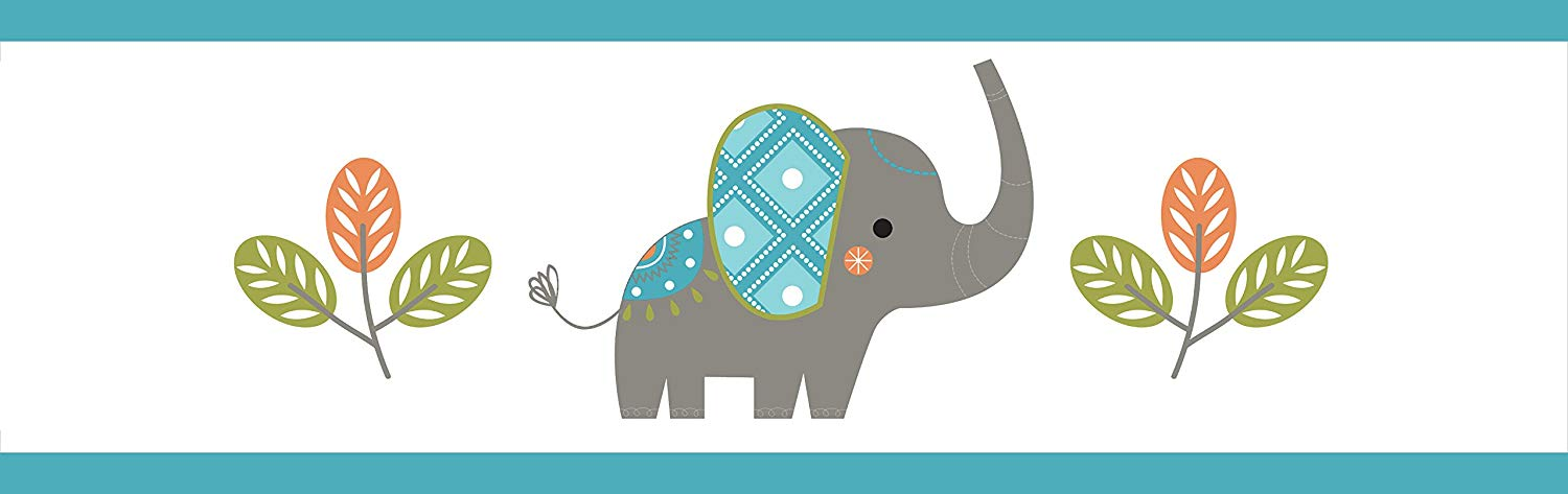 Sweet Jojo Designs Mod Elephant Baby Childrens and Kids Wall Paper Border.