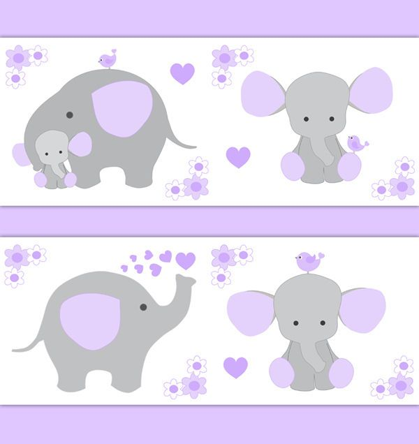 Purple Grey Elephant Nursery Baby Girl Wallpaper Border Wall.