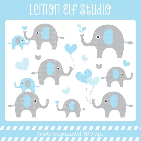Baby elephant clip art image.