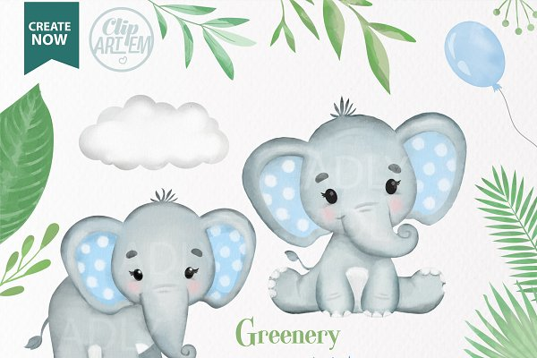 Baby Blue Elephant clipart SVG ~ Graphics ~ Creative Market.