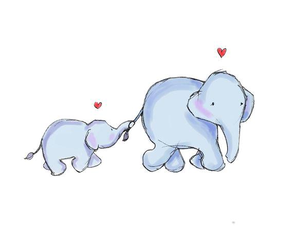 Elephant Mother Infant Clip art.