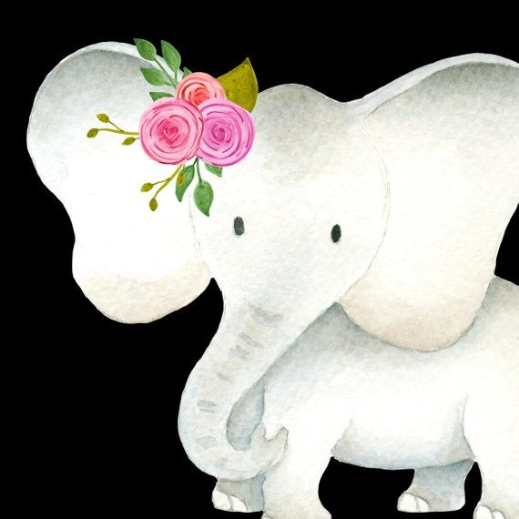 Cute elephant clipart, Baby & mama elephants clipart set.