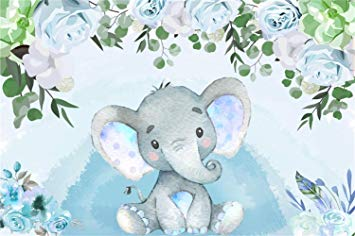 LFEEY 7x5ft Little Cute Baby Elephant Backdrop Watercolor Light Blue  Flowers Photo Booth Photography Background Kid Newborn Infant Birthday  Party.