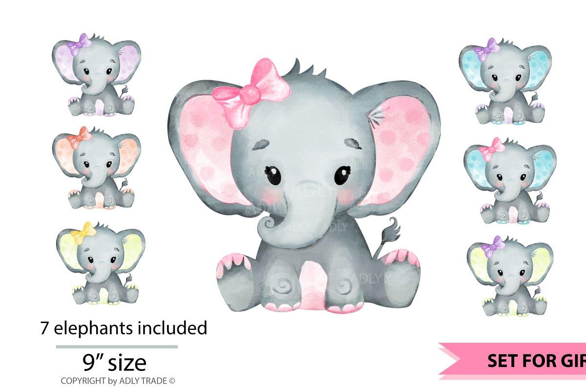 Girl Elephant Watercolor clipart ~ Illustrations ~ Creative.