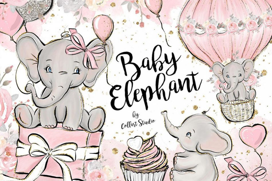 Baby Elephant clipart, Baby girl clipart, birthday clipart.