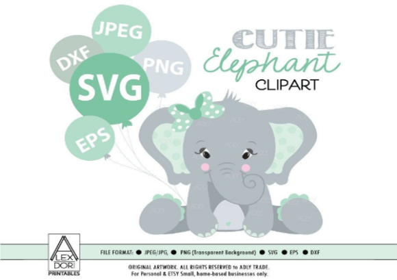 Girl Baby Elephant Clip Art SVG in Mint.