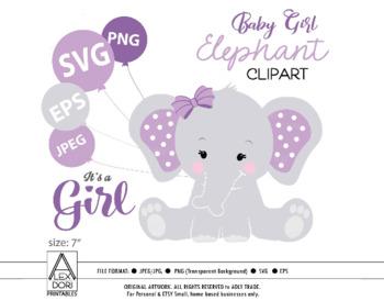 Purple Elephant SVG, clip art, girl peanut purple baby shower, cute little  baby.