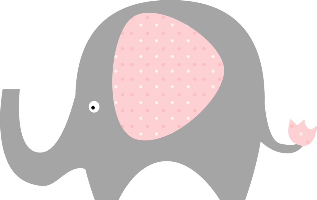 Pink And Grey Elephant Clipart.