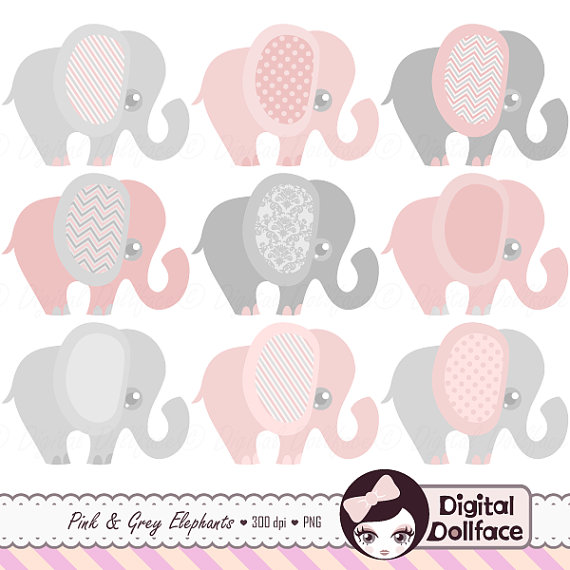 Pink and Grey Elephant Clipart, Baby Girl Clip Art Set.