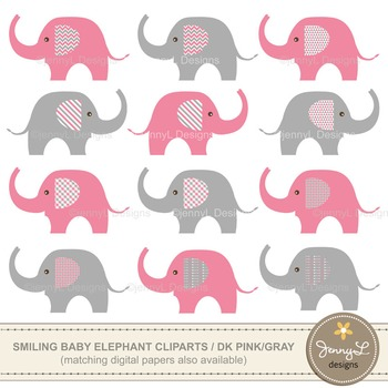 FREE Clipart: Baby Elephant clipart , Pink and Grey elephant clipart.
