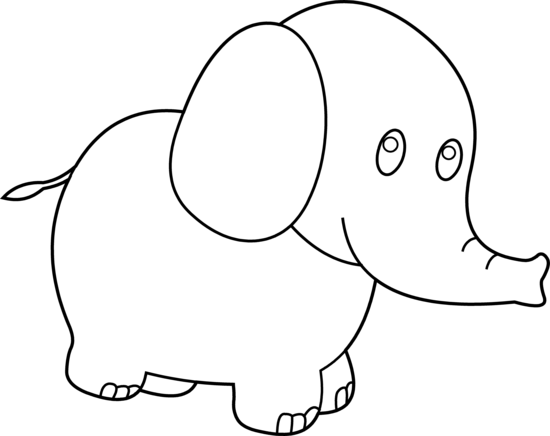 Cute Elephant Clipart Black And White.
