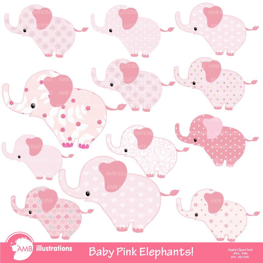 Pink Baby Elephant clipart, Nursery baby clipart, Nursery clip art.