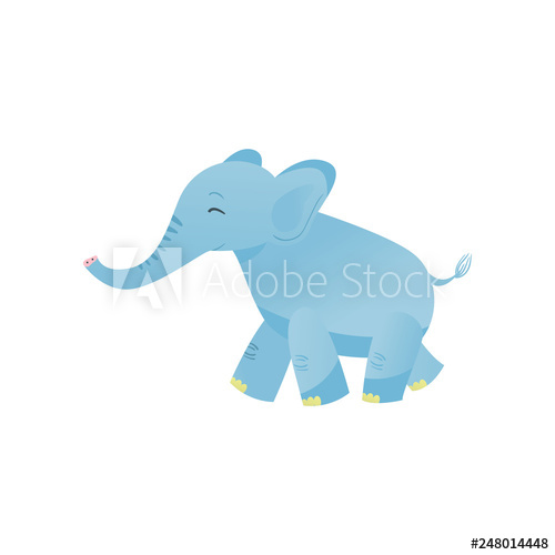 Lovely Baby Elephant, Sweet Light Blue Animal Character Side.