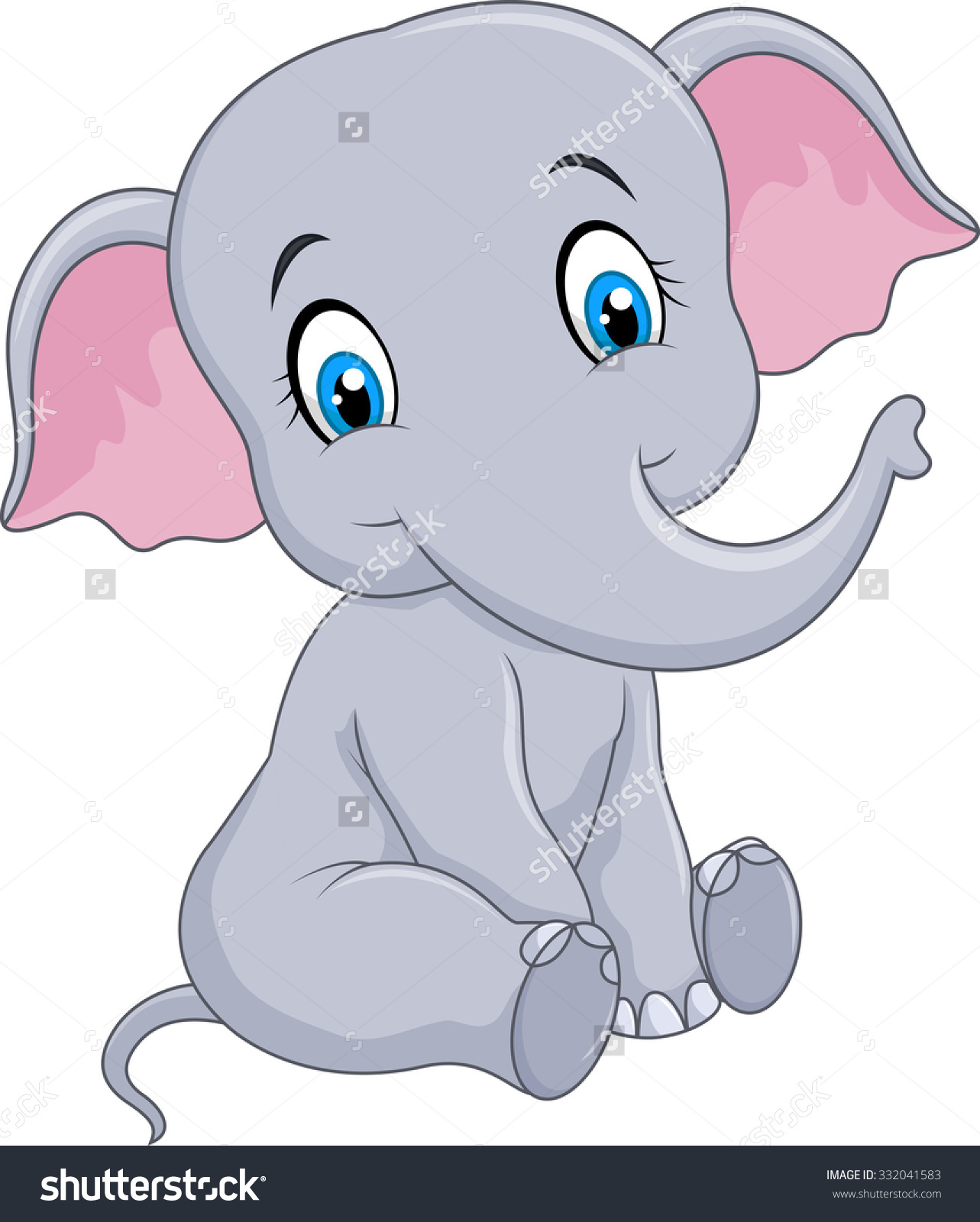 2527 Baby Elephant free clipart.