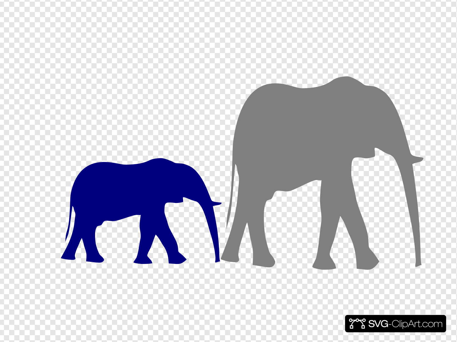 Mother And Baby Elephant Clip art, Icon and SVG.