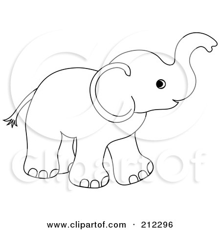 Cute Outlined Baby Elephant Holding His Trunk Up Posters, Art.