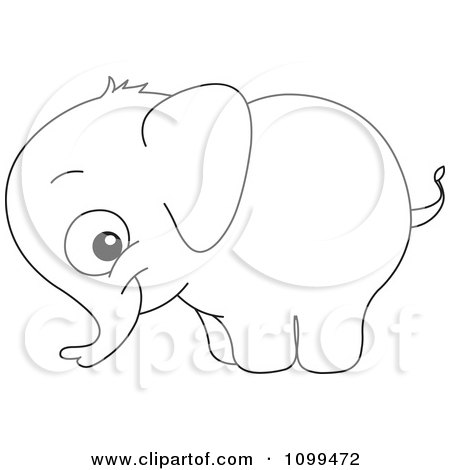 Happy Outlined Cute Baby Elephant Posters, Art Prints by yayayoyo.