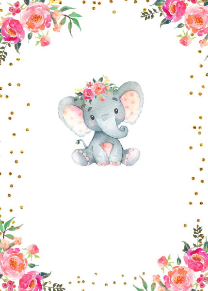 Elephant baby shower invitation.