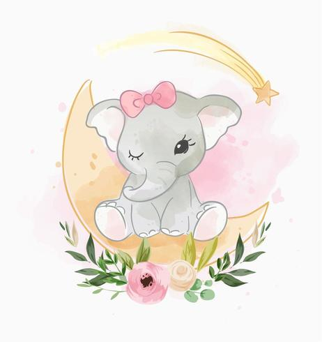 baby elephant sitting on the moon with flower.