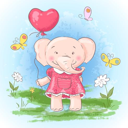 Illustration postcard cute baby elephant with a balloon.
